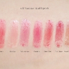 e.l.f. Luscious Lipstick Swatches: Strawberry, Baby Lips, Pink Lemonade, Raspberry, Cherry Tart, Ruby Slipper, and Maple Sugar