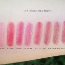 e.l.f. Luscious Lipstick Swatches: Baby Lips, Strawberry, Raspberry, Pink Lemonade, Cherry Tart, Brownie Points, Maple Sugar, and Ruby Slippers