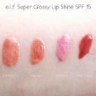 e.l.f. Super Glossy Lip Shine Swatches: Candlelight, Goddess, Pink Kiss, Malt Shake