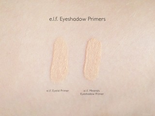 e.l.f. Essentials Eyelid Primer and Mineral Eyeshadow Primer Swatches