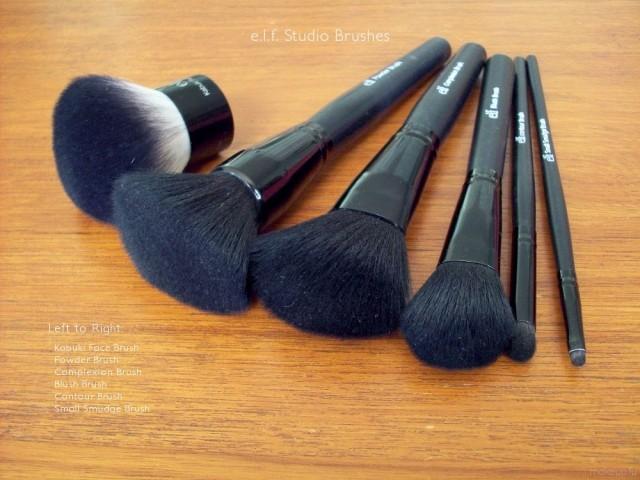 e.l.f. Studio Brushes: Kabuki Face Brush, Powder Brush, Complexion Brush, Blush Brush, Contour Brush, Small Smudge Brush