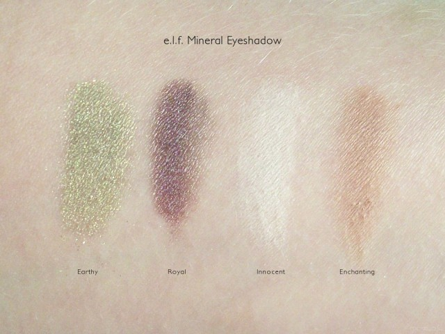 e.l.f. Mineral Eyeshadow Swatches: Innocent, Enchanting, Earthy, Royal