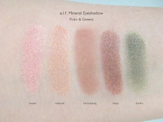 e.l.f. Mineral Eyeshadow Swatches: Sweet, Natural, Enchanting, Sassy, and Earthy