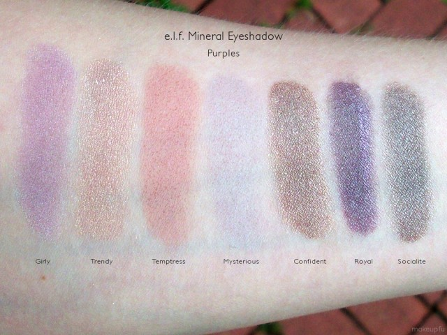 e.l.f. Mineral Eyeshadow Swatches: Girly, Trendy, Temptress, Mysterious, Confident, Royal, and Socialite