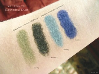 e.l.f. Mineral Eyeshadow Duo Swatches: Green Fields Collection (Earthy and Outdoorsy) and Sea Blue Eyeshadow Collection (Dreamy and Beachy)