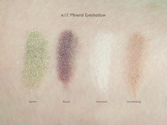 e.l.f. Mineral Eyeshadow Swatches: Earthy, Royal, Innocent, Enchanting