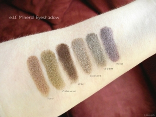 e.l.f. Mineral Eyeshadow Swatches: Royal, Socialite, Confident, Wild, Caffeinated, Sassy