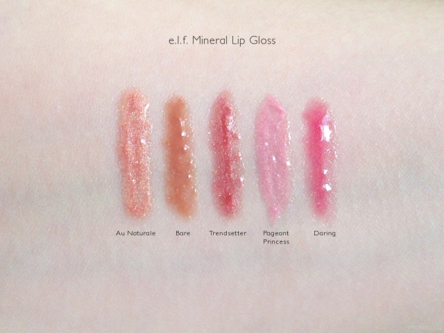e.l.f. Mineral Lip Gloss Swatches: Au Naturale, Bare, Trendsetter, Pageant Princess, Daring