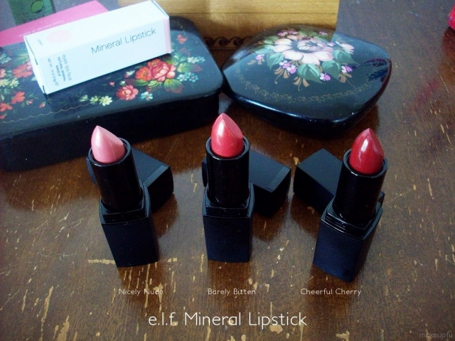 e.l.f. Mineral Lipstick: Nicely Nude, Barely Bitten, Cheerful Cherry