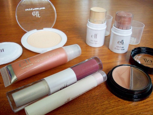 e.l.f. Mini Haul: Clarifying Pressed Powder, All Over Cover Stick, All Over Colour Stick, Duo Eye Shadow Cream, Plumping Lip Glaze, Super Glossy Lip Shine, Therapeutic Conditioning Lip Balm