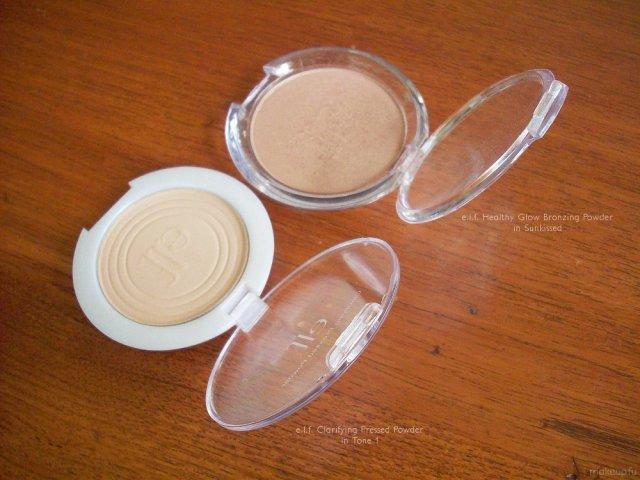 e.l.f. Clarifying Pressed Powder (Tone 1) and e.l.f. Healthy Glow Bronzing Powder (Sunkissed)