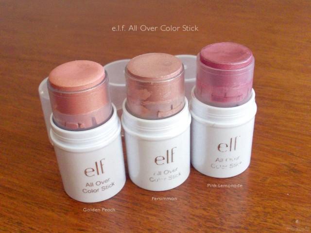 e.l.f All Over Color Stick: Golden Peach, Persimmon, Pink Lemonade