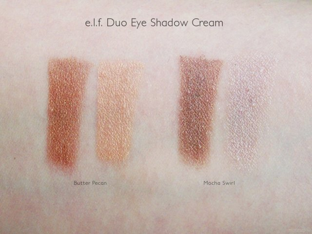 e.l.f. Duo Eye Shadow Cream Swatches: Butter Pecan and Mocha Swirl