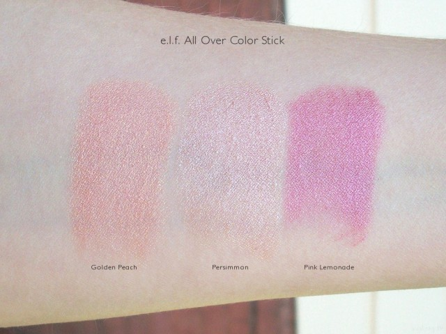 e.l.f All Over Color Stick Swatches: Golden Peach, Persimmon, Pink Lemonadee.l.f All Over Color Stick Swatches: Golden Peach, Persimmon, Pink Lemonade
