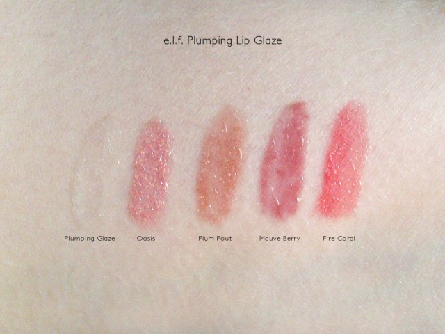 e.l.f. Plumping Lip Glaze Swatches: Oasis, Plum Pout, Mauve Berry and Fire Coral