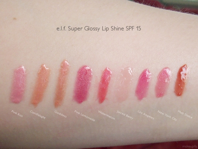 e.l.f. Super Glossy Lip Shine Swatches: Pink Kiss, Candlelight, Goddess, Pink Lemonade, Watermelon, Juiced Berry, Los Angeles, New York City and Malt Shake