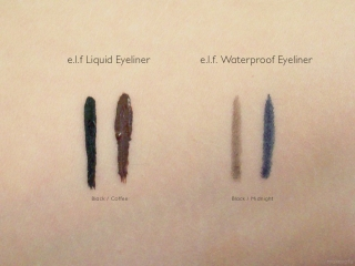 e.l.f. Essential Liquid Eyeliner and Waterproof Eyeliner Pen Swatches