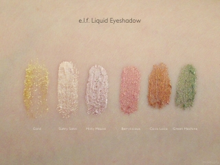 e.l.f. Essential Liquid Eyeshadow Swatches: Gold, Sultry Satin, Misty Mauve, Berrylicious, Coco Loco and Green Machine