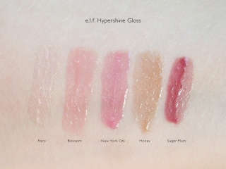 e.l.f. Essential Hypershine Gloss Swatches: Fairy, Blossom, New York City, Honey, and Sugar Plum