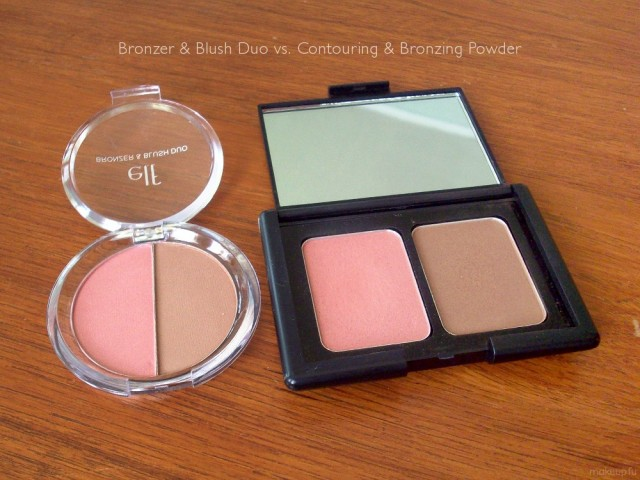 e.l.f. Studio Contouring Blush & Bronzing Powder and e.l.f. Back To School - Bronzer & Blush Duo Comparison