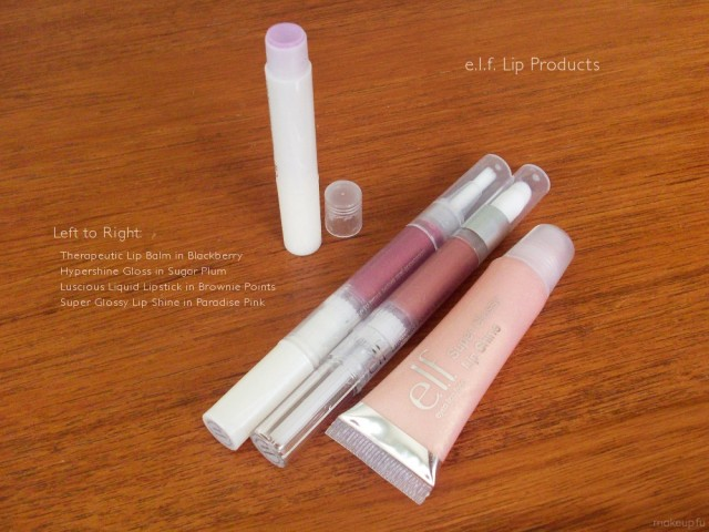 e.l.f. Essentials Lip Products: Therapeutic Lip Balm in <i>Blackberry Crème</i>, Hypershine Gloss in <i>Sugar Plum</i>, Luscious Liquid Lipstick in <i>Brownie Points</i>, and Super Glossy Lip Shine in <i>Paradise Pink</i>