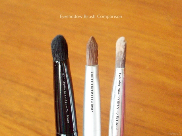 Eyeshadow Brush Comparison: EcoTools Eyeshadow Brush, Everyday Minerals Everyday Eyeshadow Brush, and e.l.f. Studio Eyeshadow