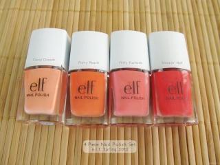 e.l.f. Spring Collection 2012 4 Piece Nail Polish Set: Coral Dream, Party Peach, Flirty Fuchsia, Smokin' Hot