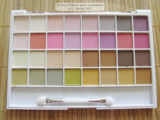 Closeup of the e.l.f. Spring Collection 2012 32 Piece Palette: warm eyeshadow