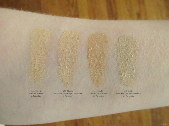 e.l.f. Studio Face Swatches: Pressed Powder (Porcelain), Maximum Coverage Concealer (Porcelain), Tinted Moisturizer (Porcelain), and Flawless Finish Foundation (Porcelain)