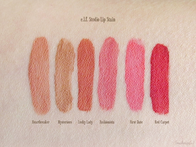 Swatches of e.l.f. Studio Lip Stain in Heartbreaker, Mysterious, Lucky Lady, Fashionista, First Date, and Red Carpet.