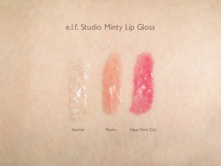 e.l.f. Studio Minty Lip Gloss Swatches: Seattle, Miami and New York City
