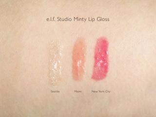 e.l.f. Studio Minty Lip Gloss Swatches: Seattle, Miami and New York City
