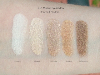 e.l.f. Mineral Eyeshadow Swatches: Innocent, Elegant, Celebrity, Golden, and Caffeinated