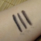 e.l.f. eyeliner swatches: Shimmer Eyeliner in Black Bandit, Brightening Eyeliner in Black, and Kohl Eyeliner