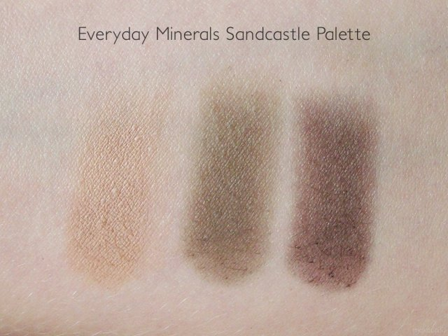 Everyday Minerals Sandcastle Eye Palette Swatches in Driftwood, Freckles and Boardwalk (photo taken in shade)
