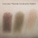 Everyday Minerals Sandcastle Eye Palette Swatches in Driftwood, Freckles and Boardwalk (photo taken in direct sunlight)