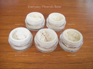 Everyday Minerals Base: Golden Fair, Olive Fair, Buff Fair Neutral, Buff Ivory and Buff Linen