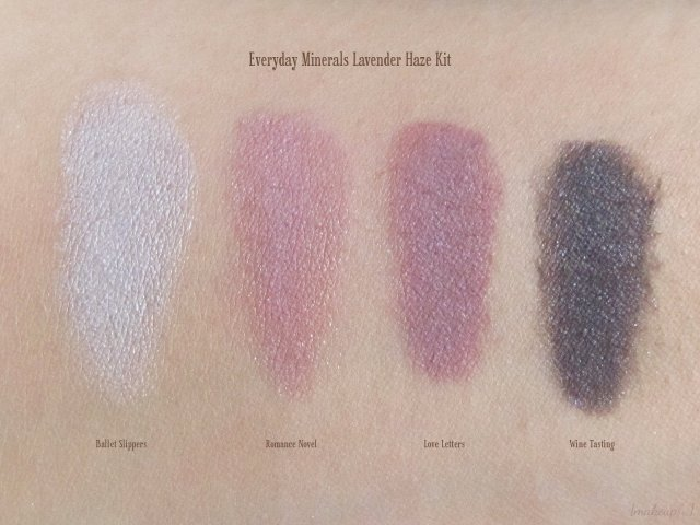 Swatches of Everyday Minerals Lavender Haze Kit: Ballet Slippers, Romance Novel, Love Letters, and Wine Tasting