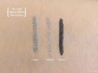 Swatches of Wet n Wild Fantasy Makers Glitter Eyeliner in Whimsical, Magical and Fantastical