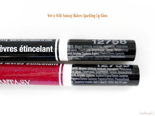 Ingredients label for the Wet n Wild Fantasy Makers Sparkling Lip Gloss in Wicked and Bleeding Heart