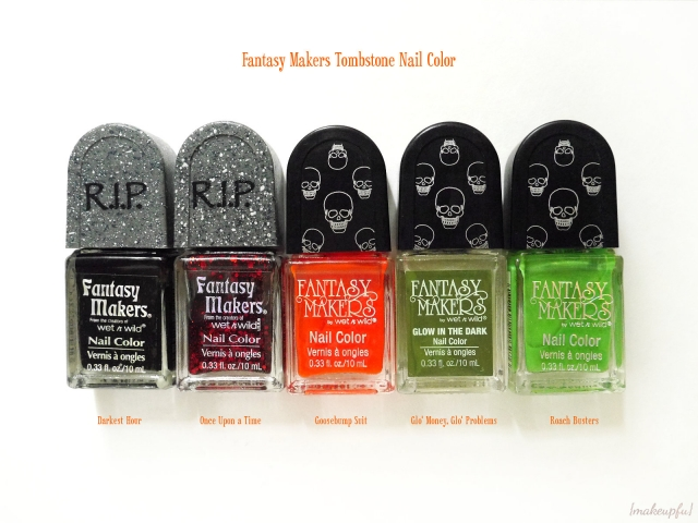 """Wet n Wild Fantasy Makers Tombstone Polish: """"Darkest Hour"""", """"Once Upon a Time"""", """"Goosebump Suit"""", """"Glo' Money, Glo' Problems"""", and """"Roach Busters"""""""