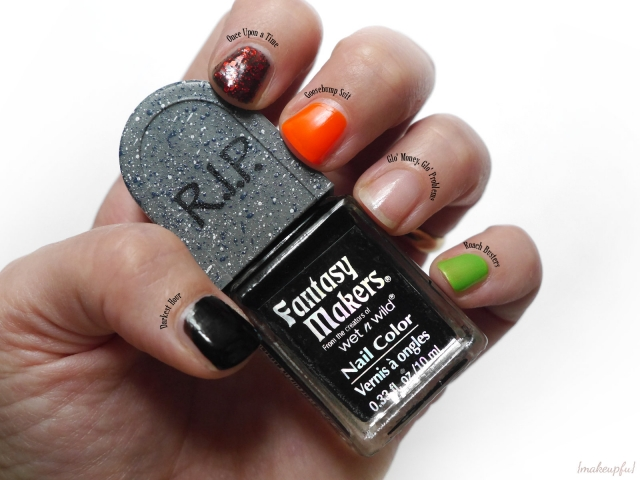 """Swatches of Wet n Wild Fantasy Makers Tombstone Polish: """"Darkest Hour"""", """"Once Upon a Time"""", """"Goosebump Suit"""", """"Glo' Money, Glo' Problems"""", and """"Roach Busters"""""""