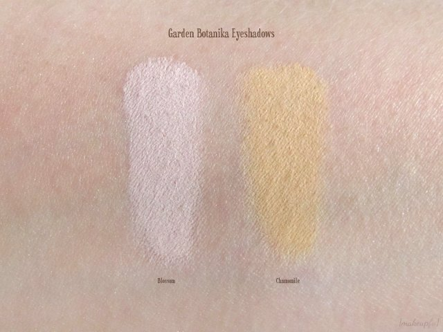 Swatches of Garden Botanika Eyeshadows in Blossom and Chamomile