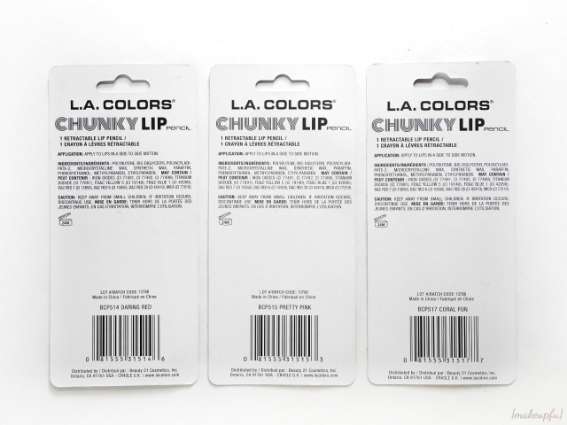 Hanging packaging for the Dollar Tree version of the L.A. Colors Chunky Lip Pencils. Shades are Daring Red, Pretty Pink and Coral Fun.
