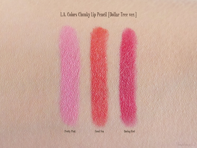 Swatches of the L.A. Colors Chunky Lip Pencils in Pretty Pink, Coral Fun and Deep Red