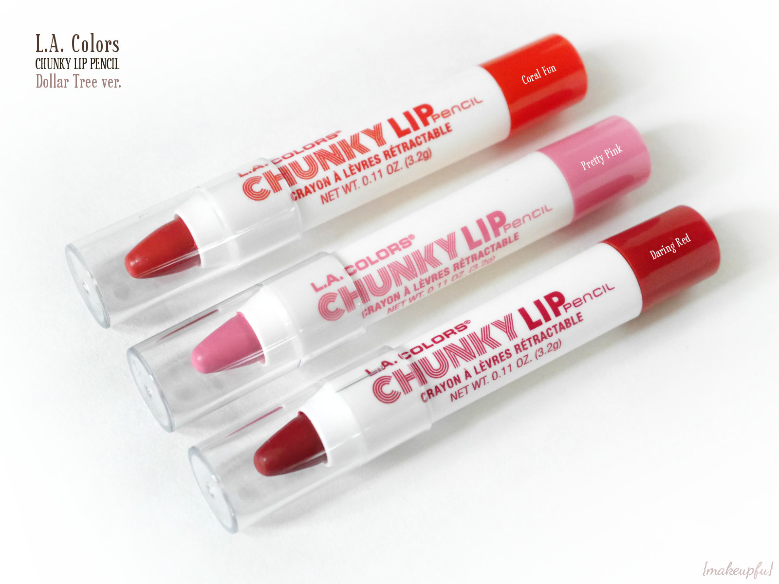 La Colors Chunky Lip Pencil Dollar Tree Ver Review Makeupfu 5 Color Matte Eyeshadow Palette Pencils In Coral Fun Pretty Pink And Daring Red