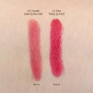 Swatch comparison of the e.l.f. Essential Jumbo Lip Gloss Stick in Movie Star and L.A. Colors Chunky Lip Pencil in Deep Red