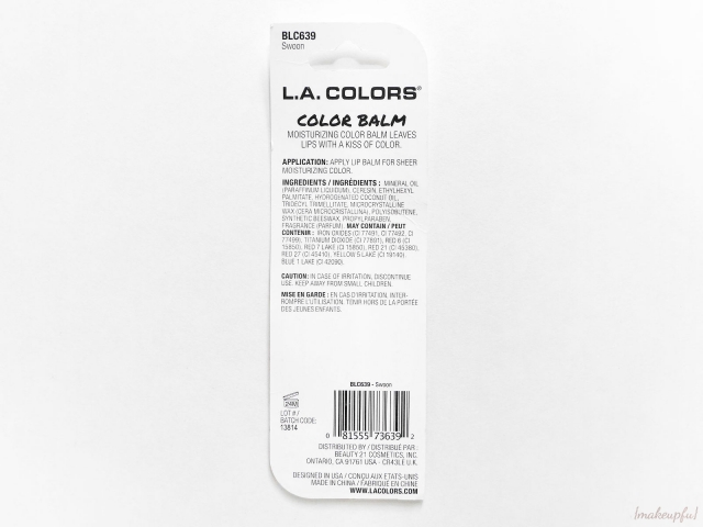 Ingredients listing for the L.A. Colors Color Balms.