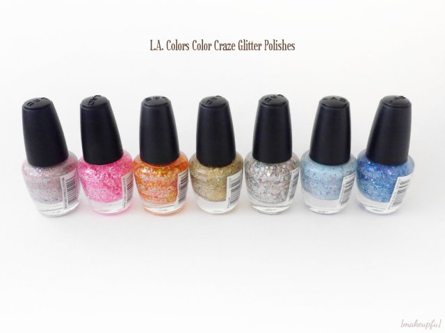 L.A. Colors Color Craze Glitter Polish in Candy Sprinkles, Cupid's Arrow, Fruity, Glam, Speckled, Spring Flirt, and Blue Icicles