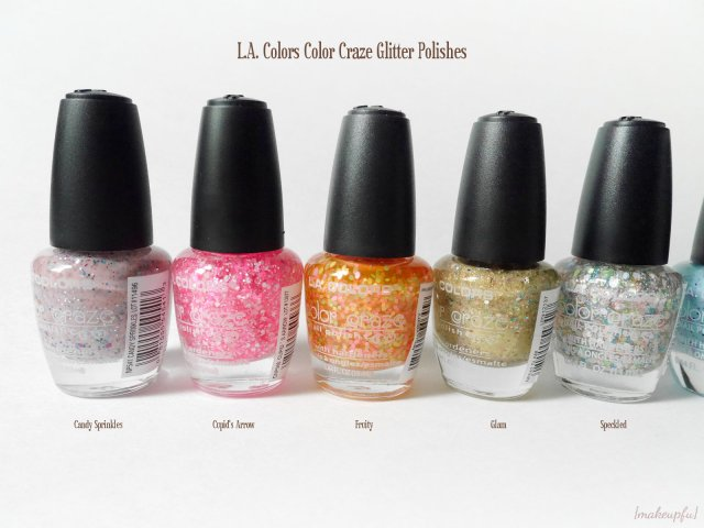 L.A. Colors Color Craze Glitter Polish in Candy Sprinkles, Cupid's Arrow, Fruity, Glam, and Speckled